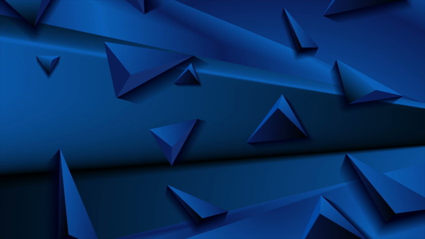 Deep blue abstract corporate motion design with 3d triangle pyramids. Geometric futuristic background. Seamless loop. Video animation Ultra HD 4K 3840x2160 | Shutterstock HD Video #1046457751