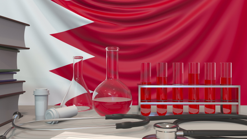 Clinic laboratory equipment on Bahraini flag background. Healthcare and medical research in Bahrain related conceptual animation | Shutterstock HD Video #1046918641