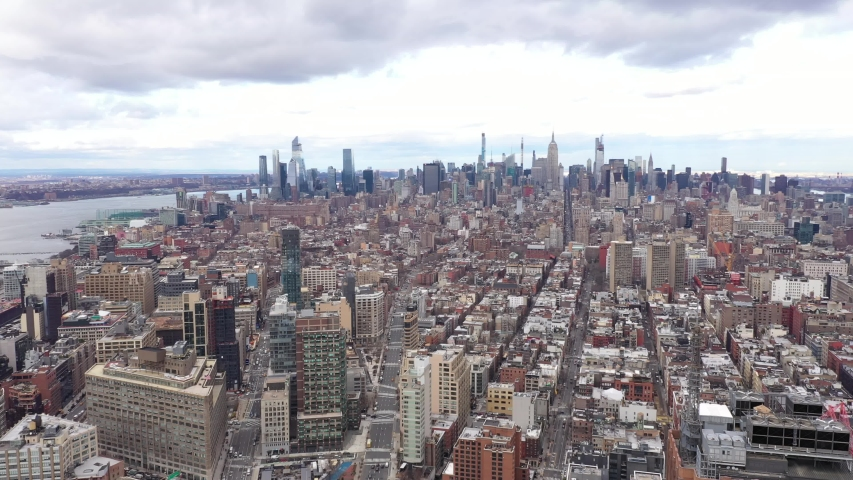 New York City Skyline Manhattan Brooklyn Fall Autumn Winter Cloudy Aerial 4K | Shutterstock HD Video #1046940061