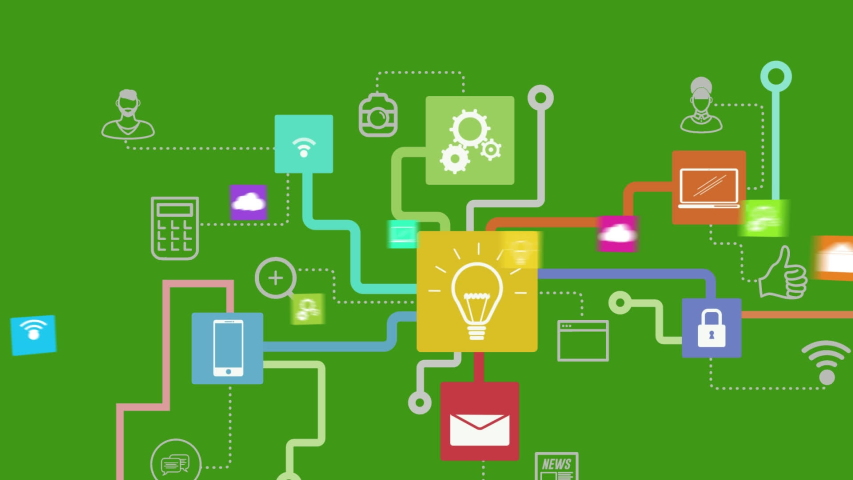 Animation of network of connections cloud computing with lightbulb, on line security, message, wifi icons on green background. Global network of connections and communication cloud computing concept | Shutterstock HD Video #1046977741