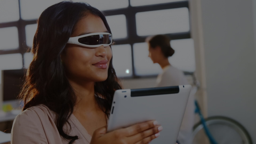 Animation of network of connections with statistics and globe icons with businesswoman wearing a Virtual Reality headset and holding a digital tablet in the background. Global networking virtual | Shutterstock HD Video #1046978971
