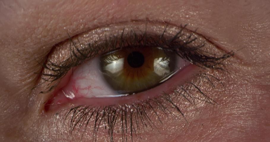 Female green-brown Eye. Extreme macro.   Shutterstock HD Video #1047112681