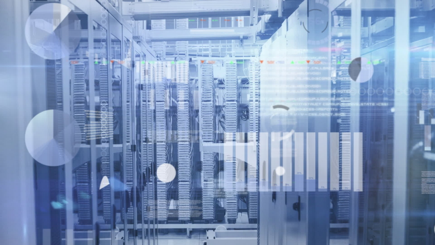 Animation of statistics, data processing and digital information flowing through network of computer servers in a server room. Global network of internet service provider or data processing centre | Shutterstock HD Video #1047234481