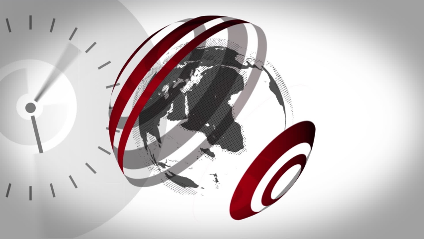 Animation of news screen with grey and white globe spinning with red lines surrounding it clock moving fast on white background. Global technology media and information network concept digitally | Shutterstock HD Video #1047236431