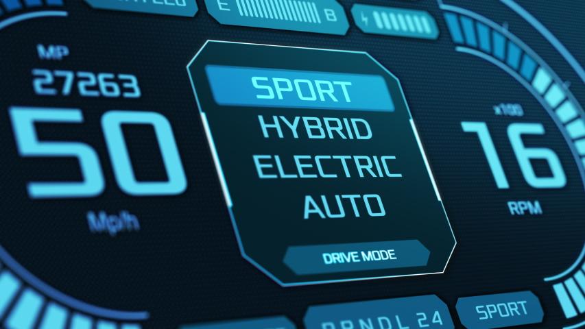 Close-up of a futuristic dashboard of a hybrid car, changing drive mode (3d render) | Shutterstock HD Video #1047312661