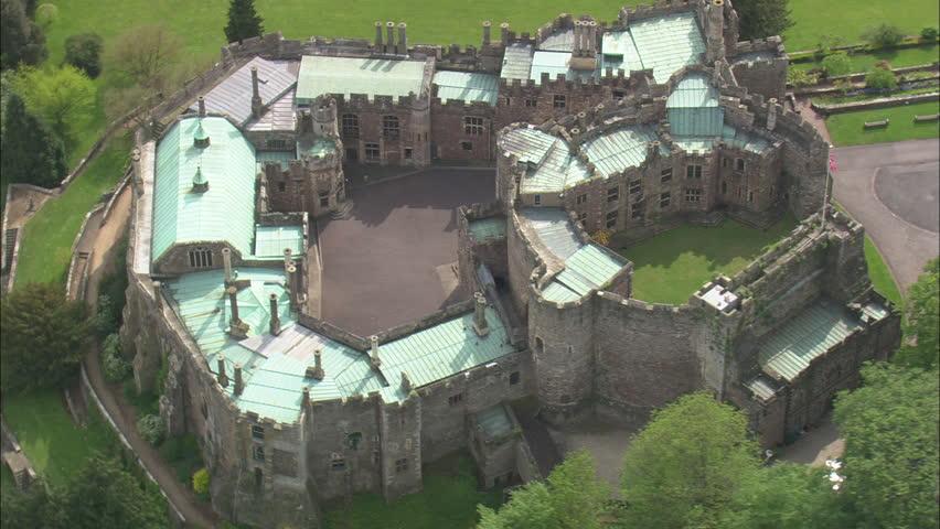 Aerial United Kingdom Berkeley Castle 2010 Stock Footage Video