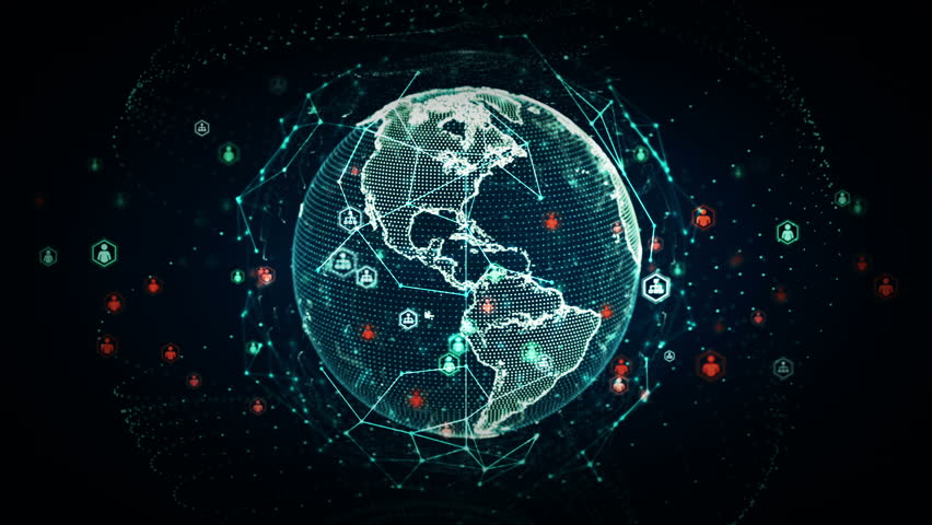 A stylized rendering of the earth conveying the modern digital age and its emphasis on global connectivity among people. This clip is available in multiple other color options and loops seamlessly. #10477451