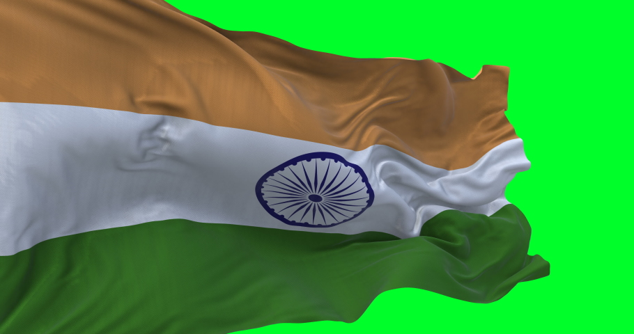 India national flag waving and blowing in strong wind. slow motion loop video over green screen. High quality textures loopable video | Shutterstock HD Video #1047815731