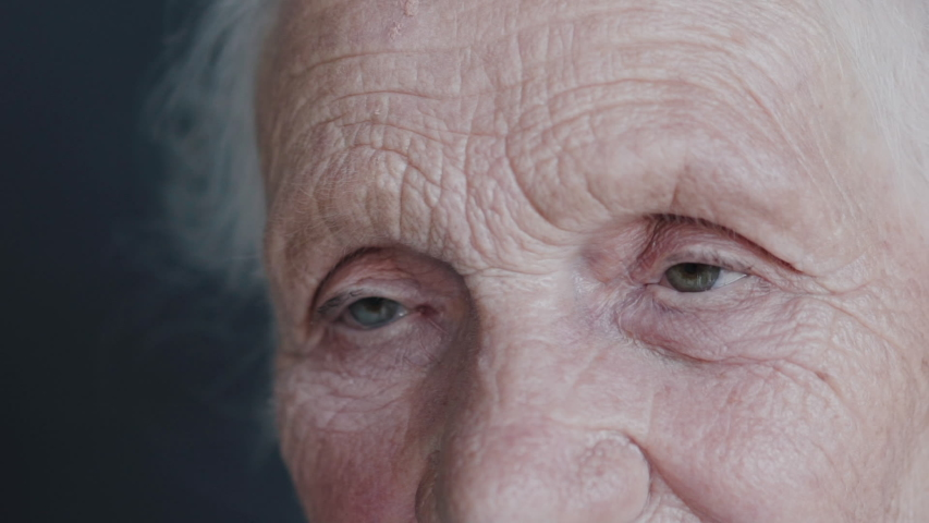 Close look into camera of wrinkled, cute grandmother on background. Slowly | Shutterstock HD Video #1048713091
