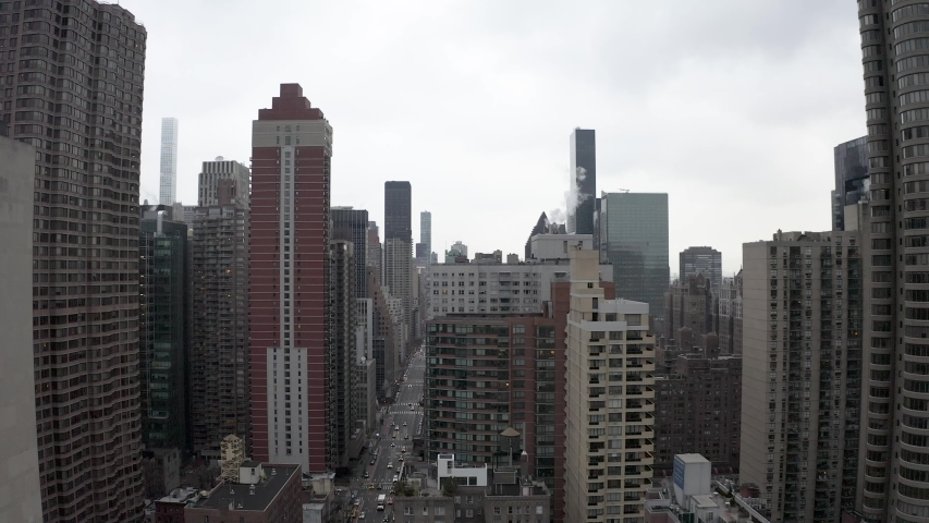 4K Aerial Footage, New York City skyline with urban skyscrapers at daytime. | Shutterstock HD Video #1048840471