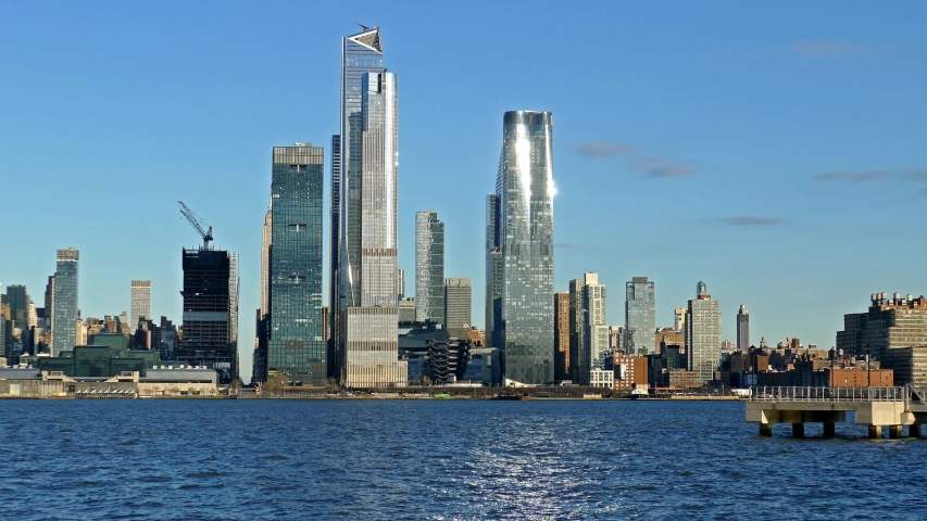Midtown Manhattan skyline with the Hudson river | Shutterstock HD Video #1048884901