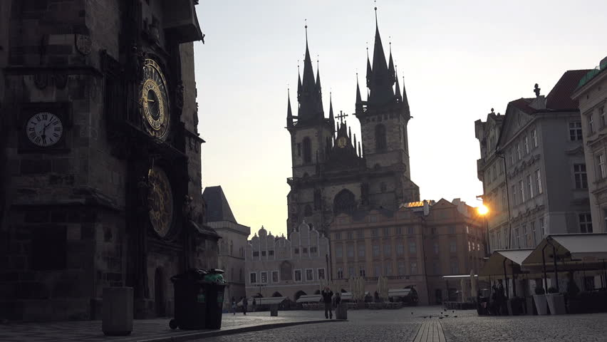 Astronomical clock and tyn church at night in prague czech republic prague czech republic may 23 2015 early morning at empty prague old thecheapjerseys Images