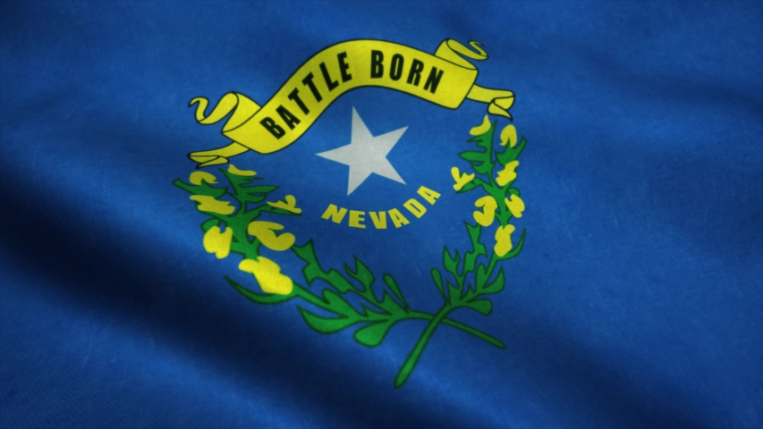 Nevada State flag waving in the wind. National flag of Nevada. Sign of Nevada State seamless loop animation. 4K | Shutterstock HD Video #1049261881