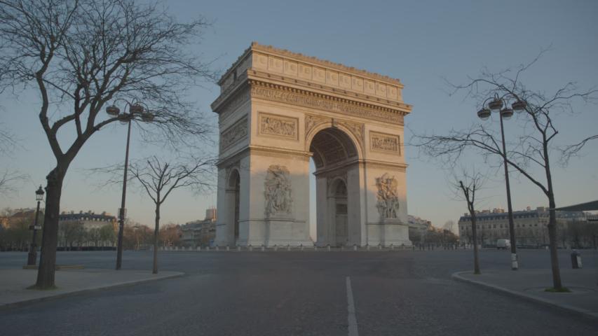 Arc de Triomphe Paris Vide Coronavirus Confinement | Shutterstock HD Video #1049307301