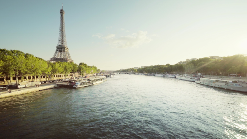 Eiffel tower and sunny morning, Paris, France | Shutterstock HD Video #1049311381