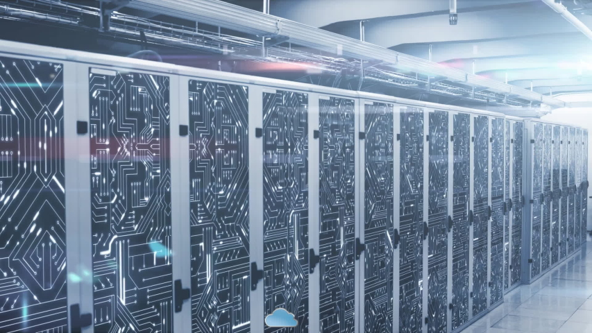 Animation of clouds, data processing and digital information flowing through network of computer servers in a server room with light trails flashing on surface. Global network of internet service | Shutterstock HD Video #1049358931
