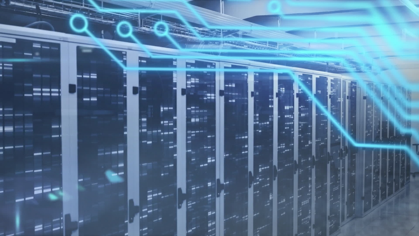 Animation of computer circuit board, data processing and digital information flowing through network of computer servers in a server room with light trails flashing on surface.  | Shutterstock HD Video #1049361901