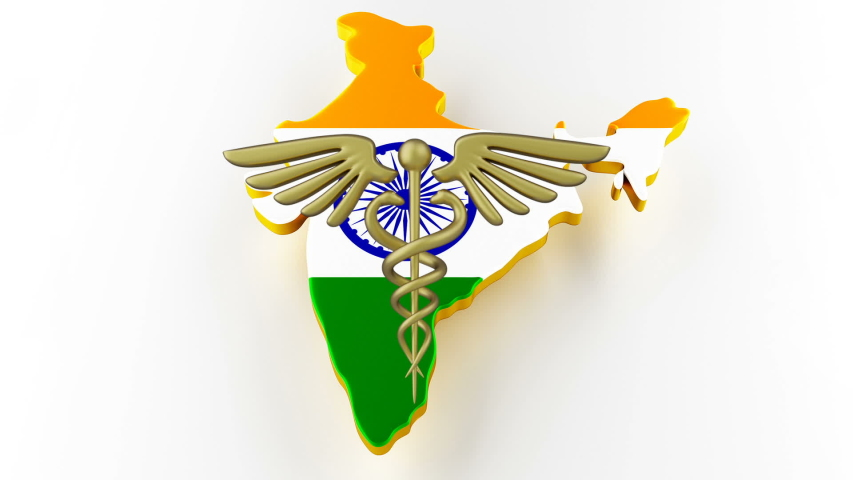 Caduceus sign with snakes on a medical star. Map of India land border with flag. India map on white background. 3d rendering | Shutterstock HD Video #1049432611