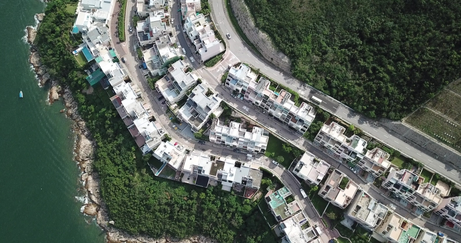 Aerial view of the Redhill Peninsula of Hong Kong | Shutterstock HD Video #1049561071