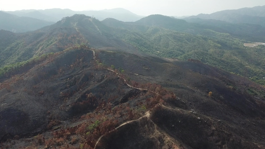 Aerial view of Tai Lam Chung Country Park after fire, Hong Kong  | Shutterstock HD Video #1049564101