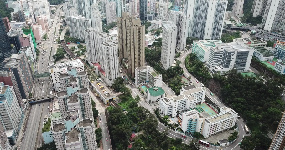 Aerial view in Quarry Bay and Tai Ko, Eastern of Hong Kong Island  | Shutterstock HD Video #1049564431