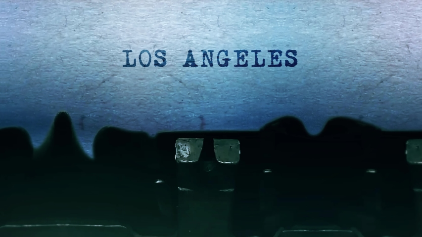 LOS ANGELES Word closeup Being Typing and Centered on a Sheet of paper on old vintage Typewriter mechanical 4k Footage Background Animation. | Shutterstock HD Video #1049568691