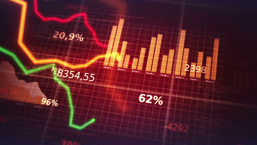 Decreasing charts. Financial figures and diagrams showing decreasing profits. Loopable. Blue-White.  2 colors. More options in my portfolio. | Shutterstock HD Video #10495871