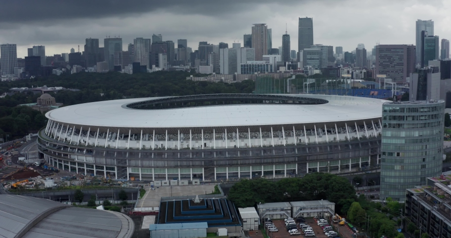 Drone view of Tokyo Olympic New National Stadium | Shutterstock HD Video #1049605291