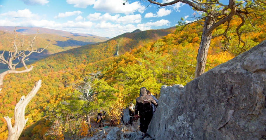 Couple, Hikers, Descending Down Seneca Rocks, West Virginia | Shutterstock HD Video #1049616511