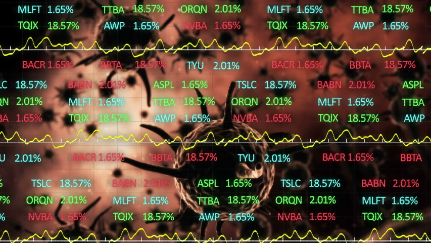 Animation of macro cells of coronavirus Covid-19 spreading and stock market display with red, blue and green stock market tickers and graphs, price going up and down at the stock exchange. Finance | Shutterstock HD Video #1049622151