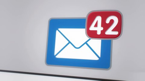 Close up of e-mail inbox with multiple messages appearing in the mailbox