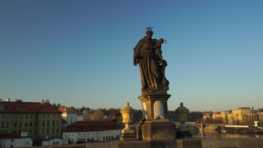 Statues of saint on Charles bridge in Prague. Saint Antonin Paduansky. Czech history and culture. | Shutterstock HD Video #1050036781