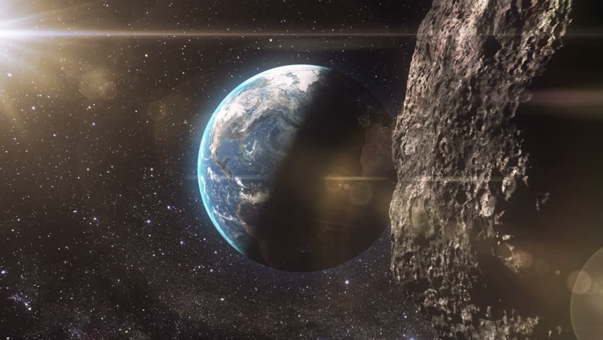 4K huge, detailed asteroid approaching to the Earth.
