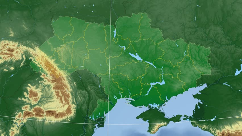 Sumy Oblast Extruded On The Physical Map Of Ukraine Rivers And