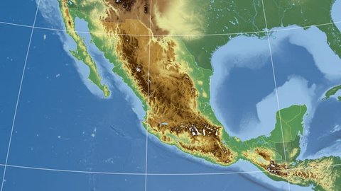 Zacatecas state extruded on the physical map of Mexico. Rivers and lakes shapes added. Colored elevation data used. Elements of this image furnished by NASA.