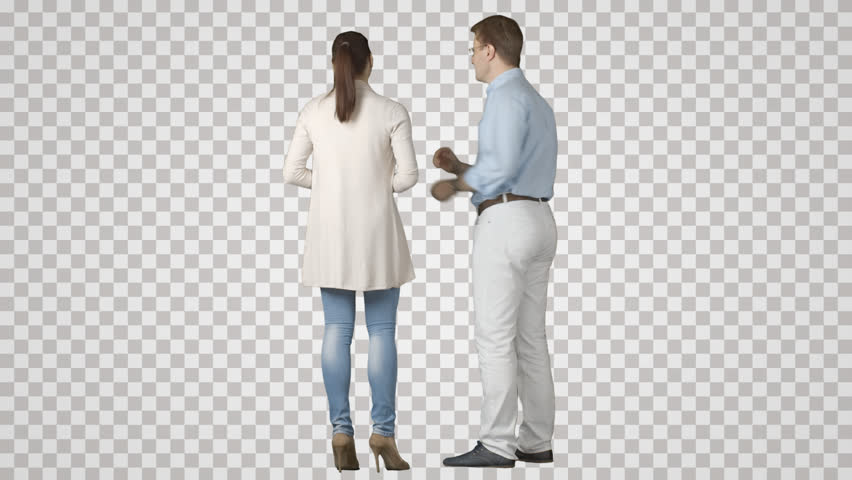 Two young men & woman stand side by side, talk, show. Footage with alpha channel. File format - mov. Codec - PNG+Alpha. Combine these footage with your background or other people