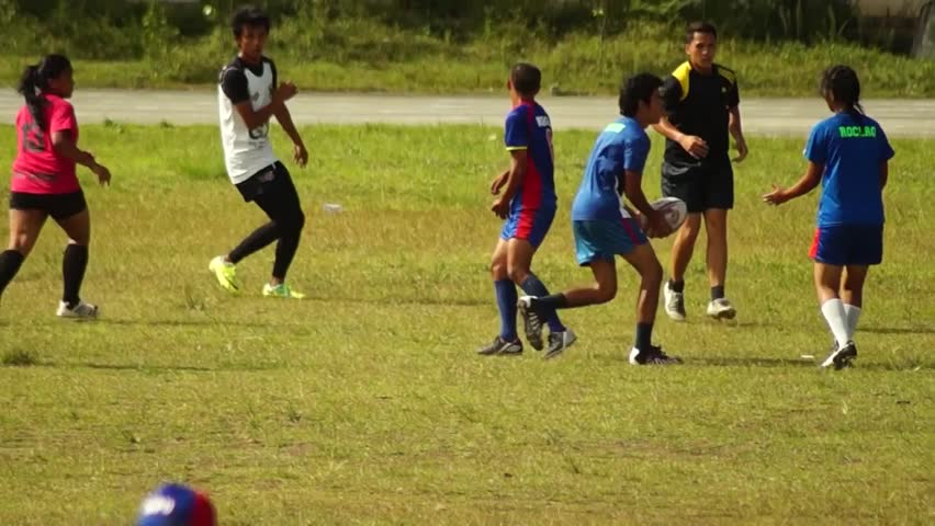 LAGUNA, PHILIPPINES - CIRCA 2014: Rugby Players are rigorously trained for the incoming athletic sports event. Public Event | Shutterstock HD Video #10544471