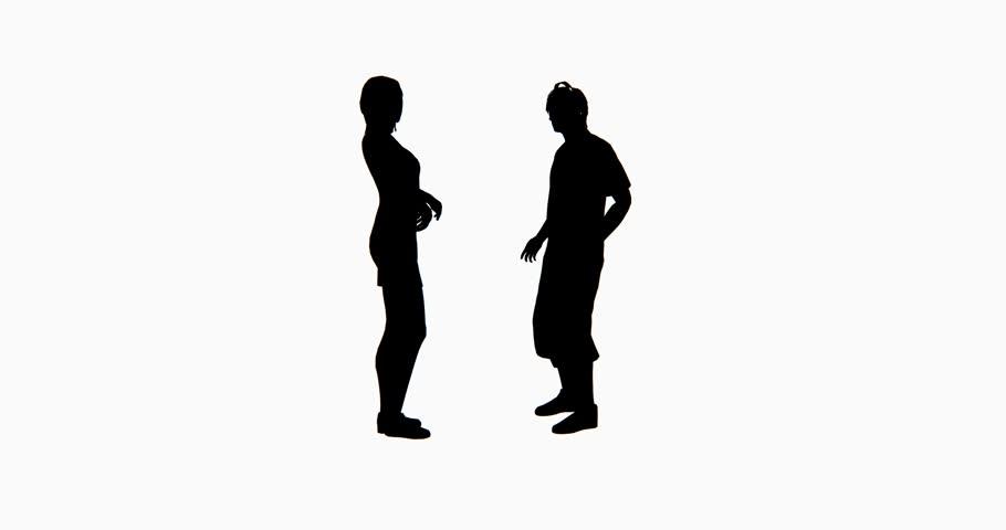 4k two people silhouette talking. cg_02765_4k