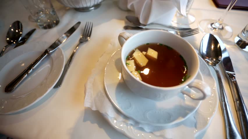 Beef consomme with almonds #10571321
