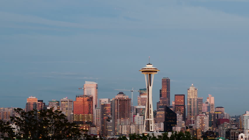 SEATTLE, WA, USA - MAY 29, 2015: 4K Time lapse pan shot Seattle skyline after sunset with a firework show during the twilight