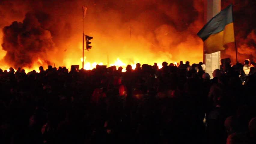KIEV, UKRAINE December 30, 2014: Protesters set fire to barricades in Kiev. The revolution in Ukraine 04