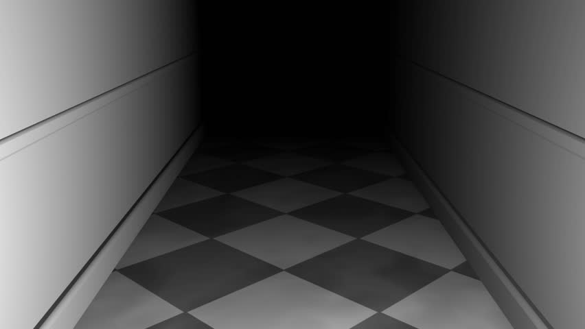 3D rendering, navigating a path through a dark maze of corridors, final zoom-in through keyhole for custom content placement