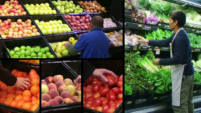 Montage of workers facing produce and shoppers in fresh produce market.
