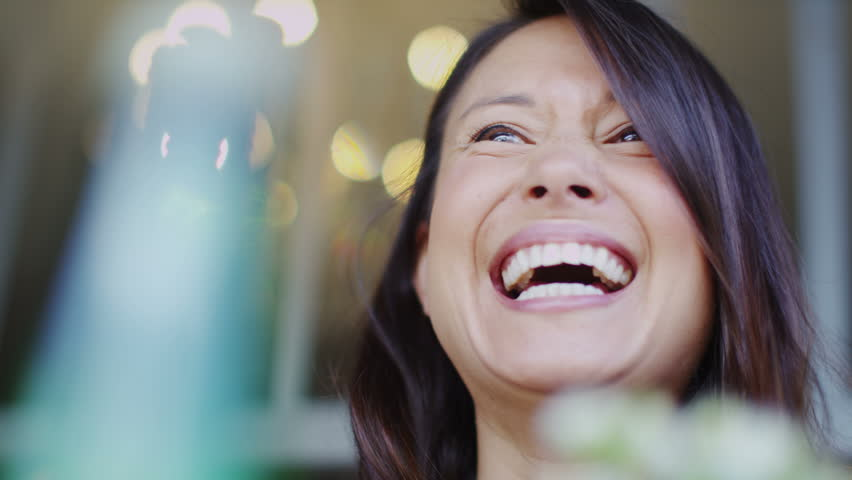 4K Attractive woman talking excitedly and cheerfully at a cafe table outdoors in slow motion, shot on RED EPIC | Shutterstock HD Video #10726058
