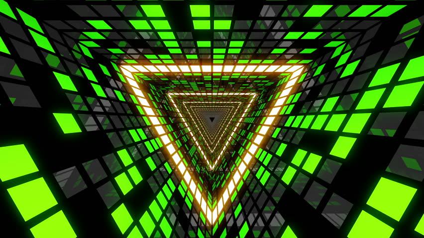 Vj Loop Green Triangular Tunnel Stock Footage Video (100% ...