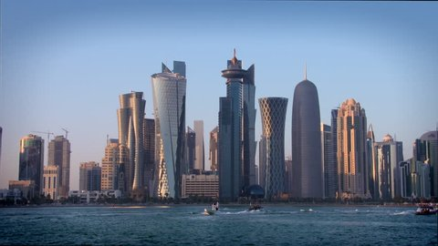 Doha Qatar skyline in late afternoon sunshine