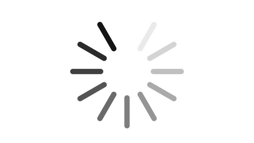 4k Loading circle - black lines on white background