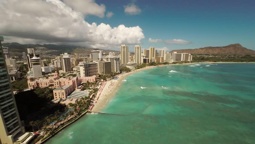 Aerial Shoot Kahanamoku Beach. Waikiki. Honolulu. Island O'ahu. Hawaii. | Shutterstock HD Video #10754669