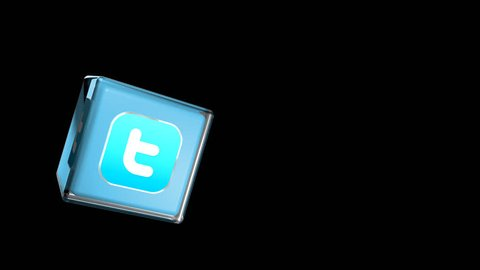 Editorial Animation: 3D Rotating Twitter logo cube