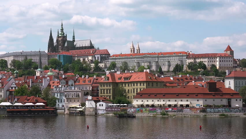 PRAGUE, CZECH REPUBLIC - MAY 22, 2015: Tourists Crossing Charles Bridge, Famous Attraction in Czech Republic, Castle Hradcany in Background. Prague was visited by more than 8 million people in 2014.   Shutterstock HD Video #10779341